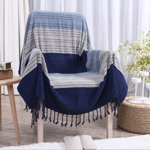 220 x 260cm Chenille Yarn Dyed Sofa Cover Tablecloth Chair Blanket - Blue Stripes