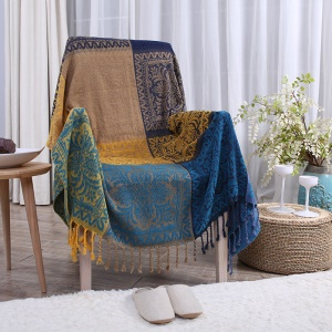 Chenille Sofa Cover Towel Yarn Dyed Chair Blanket 150 x 190cm - Tribal Flower Pattern