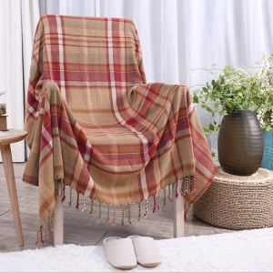 Chenille Sofa Towel Slipcover Yarn Dyed Chair Blanket 150 x 190cm - Checker Pattern