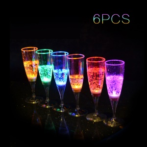6Pcs / Set Liquid Activated LED Wine Champagne Glasses