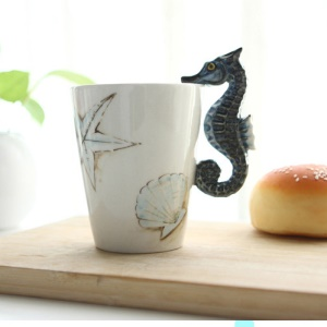 Hand-painted 3D Animal Coffee Mug Ceramic Cup - Sea Horse
