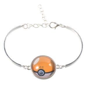 Pokemon Go Pokeball Glass Alloy Bracelet with Expandable Chain - Orange