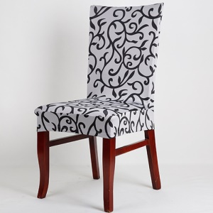 Floral Printing Stretchy Dining Chair Stool Cover Slipcover - White / Black