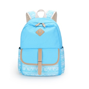 Printing Student School Backpack Travel Laptop Bag Casual Daypack - Baby Blue