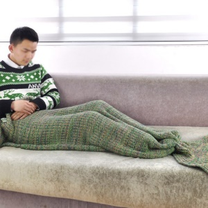 Knitted Mermaid Tail Blanket for Adults and Kids, 55 x 150cm - Green