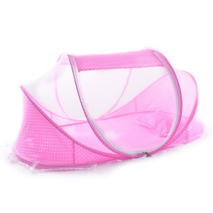 Folding Baby Infant Bed Canopy Mosquito Net Baby Tent with a Cotton Pillow and Music Pack, Size: 110 x 65 x 60cm - Pink