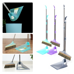 Patented Design Long Handle Broom + Back Dump Dustpan Combo (2 Kits, Two Colors)
