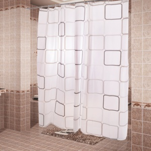 Grid Pattern PEVA Waterproof Mildewproof Shower Curtain, Size: 160x180cm