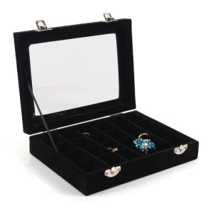 24 Section Wooden Jewelry Box Storage Organizer Case with Large Glass Top - Black