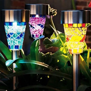 6Pcs/set Mosaic Solar Garden Stake Light Stainless Steel Lawn Pathway Lights