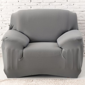 Solid Color Sofa Cover 1-Piece Polyester Spandex Fabric Slipcover (Single-seater) - Grey