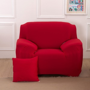 Single-seater Solid Color Tight Universal Elastic Sofa Cover Slipcover - Red