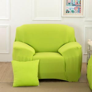 Solid Color Tight Universal Polyester Spandex Fabric Sofa Cover Slipcover  (Single-seater) - Light Green
