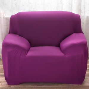 Solid Color Tight All-inclusive Universal Elastic Sofa Cover Slipcover (Single-seater) - Purple