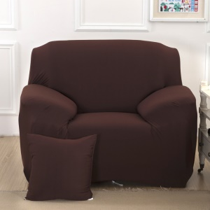 Solid Color Tight Universal Elastic Slipcover Sofa Cover (Single-seater) - Coffee