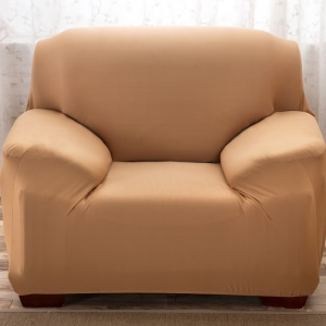 Solid Color Polyester Spandex Fabric Sofa Furniture Protector (Single-seater) - Light Brown