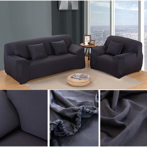 Solid Color Tight Universal Elastic Sofa Cover Slipcover (Two-seater) - Black