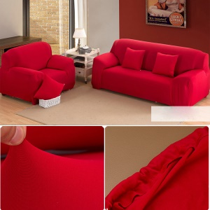 Four-Piece Sofa Slipcover Stretch Spandex Fabric Furniture Couch Protector Cover - Red