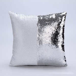 Reversible Glitter Sequins Sofa Cushion Cover Pillow Case - White / Silver Color