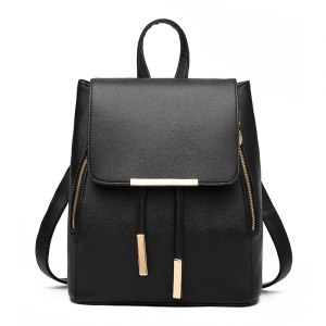 Fashion Korean Style Backpack College Wind Shoulder Bag - Black