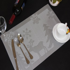 6PCS/Lot Christmas Fawn Non-slip PVC Kitchen Placemat for Dining Table, 45 x 30cm - Grey