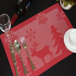6PCS/Lot Christmas Fawn PVC Placemats for Dining Table Stain-resistant Kitchen Placemat, 45 x 30cm - Red