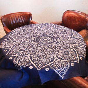 Square Cotton Linen Dining Table Cloth Cover 85 x 85cm - Henna Lotus