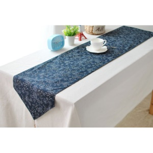 180 x 30cm Flora Pattern Blue Cotton Linen Table Runner Tablecloth Cover Top Deco