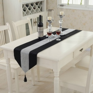 Western Modern Table Runner Tapestry with Diamante Strip and Tassels, Size: 32 x 250 - Black