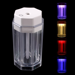 LINGLONG USB Mini Air Humidifier with Color-changing LED Night Light - White