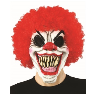 Horror Halloween Clown Face Mask with Red Curly Hair