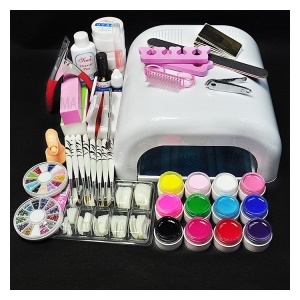 DIY Nail Art Tool Set 36W UV Gel White Lamp & 12-Color UV Gel Nail Art Tool Kit - EU Plug