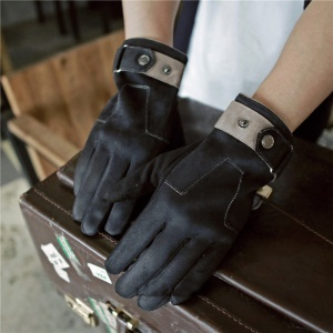 Touch Screen Suede Fabric Gloves Thickened Warm Cycling Mittens - Black