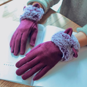 Lovely Cat Ears Mittens Winter Warm Touchscreen Plush Gloves - Wine Red