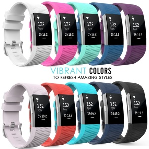 10pcs/set Soft Silicone Stylish Wrist Watchband Strap for Fitbit Charger 2