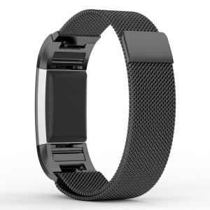 Stainless Steel Milanese Magnetic Watch Band Strap for Fitbit Charge 2 - Black