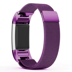 Stainless Steel Milanese Magnetic Watch Band Strap Replacement for Fitbit Charge 2 - Purple