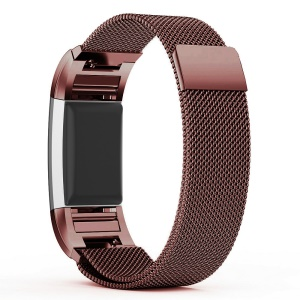 Stainless Steel Magnetic Milanese Watch Band Strap Replacement for Fitbit Charge 2 - Coffee