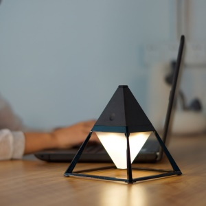 Pyramid Shape Modern LED Table Lamp Home Desk Bedside Night Light - Black