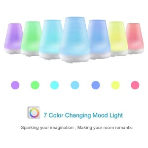 100ml Ultrasonic Essential Oil Diffuser Air Humidifier with 7-color Changing LED Light - White / EU Plug