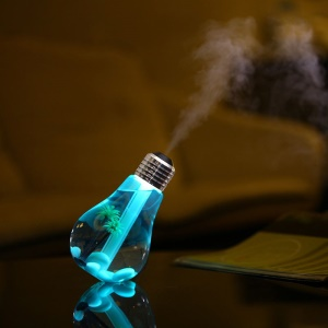 Creative Mini Bulb Humidifier Colorful LED Night Light USB Air Purifier 400ml - Silver Color Head / Transparent