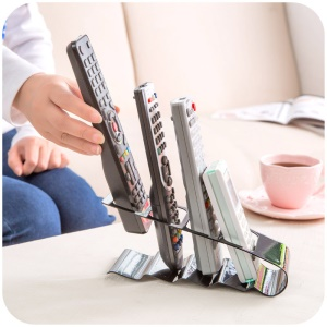 4-Slot TV/Air Conditioner Remote Controller Organizer Holder - Black