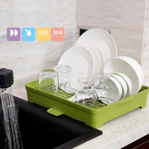 ANYA 754 Stainless Steel & Plastic Draining Drying Dish Rack Cabinet Organizer - Green