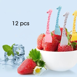 Fourchette de fruit de dessert de girafe de bande dessinée 12PCS / Lot ANYA 708