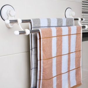 Wall Mounted Suction Cup Towel Bar Double Towel Rack