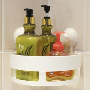 Triangle Pattern Plastic Shower Storage Holder Organizer with Dual Suction Cups