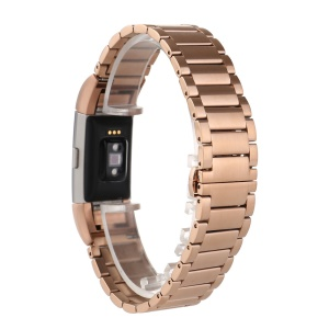 316L Stainless Steel Watchband Strap Butterfly Buckle for Fitbit Charge 2 - Rose Gold