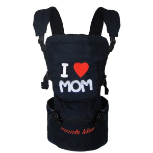 Multi Functional 360° Ergonomic Baby Carrier - Black / I Love Mom Pattern