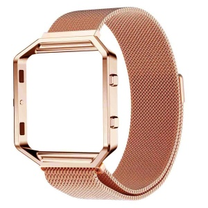 Luxury Milanese Stainless Steel Mesh Magnetic Watch Strap with Metal Frame for Fitbit Blaze - Rose Gold Color