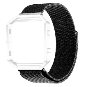 Milanese Loop Stainless Steel Magnetic Watch Strap without Frame Bumper for Fitbit Blaze - Black